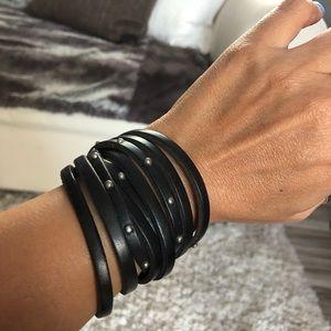 Jewelry - Black leather wrap bracelet